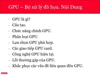 GPU � B? x? l� ?? h?a. N?i Dung