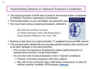 Transforming Datasets to Talairach-Tournoux Coordinates