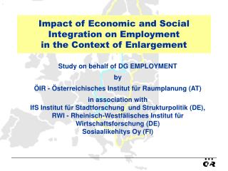 Impact of Economic and Social Integration on Employment in the Context of Enlargement