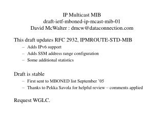 IP Multicast MIB draft-ietf-mboned-ip-mcast-mib-01 David McWalter : dmcw@dataconnection