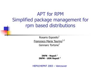 APT for RPM Simplified package management for rpm based distributions