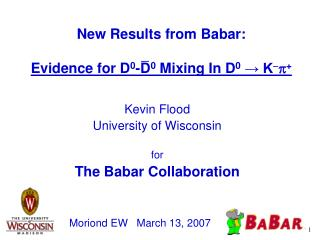 New Results from Babar: Evidence for D 0 -D 0  Mixing In D 0 → K - p +