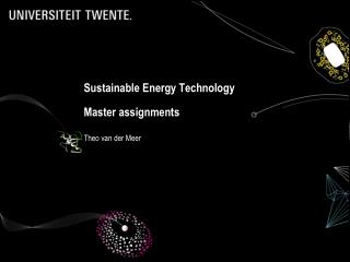 Sustainable Energy Technology Master assignments