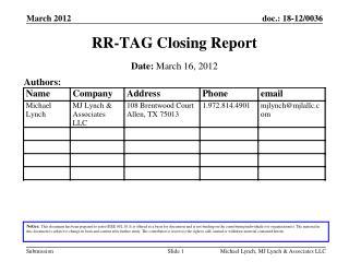 RR-TAG  Clos ing  Report