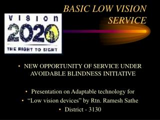 BASIC LOW VISION SERVICE
