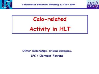 Calo-related  Activity in HLT