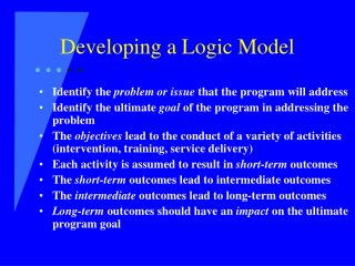 Developing a Logic Model