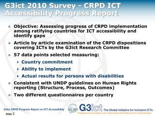 G3ict  2010 Survey  - CRPD  ICT Accessibility Progress  Report