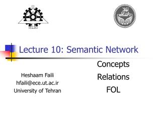 Lecture 10: Semantic Network