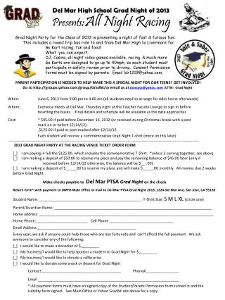 2013 GRAD NIGHT PARTY AT THE RACING VENUE TICKET ORDER FORM