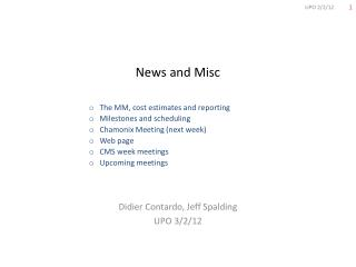 News and Misc