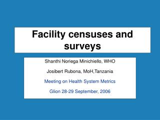 Facility censuses and surveys