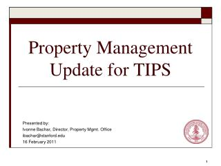 Property Management Update for TIPS