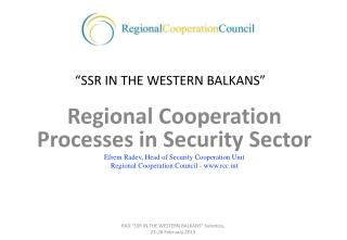 """SSR  IN THE WESTERN BALKANS"""