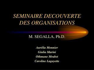 SEMINAIRE DECOUVERTE DES ORGANISATIONS