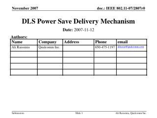 DLS Power Save Delivery Mechanism