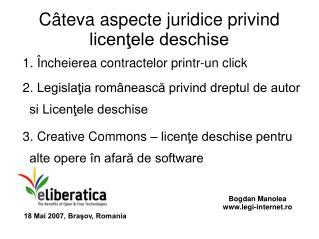Câteva aspecte juridice privind licenţele deschise