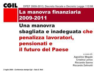 La manovra finanziaria 2009-2011