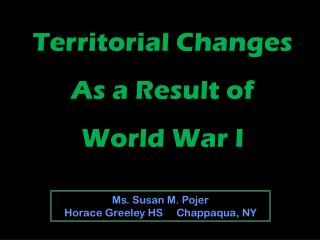 Territorial Changes As a Result of World War I