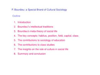 P. Bourdieu: a Special Brand of Cultural Sociology