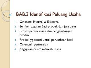 BAB.3  Identifikasi Peluang  Usaha