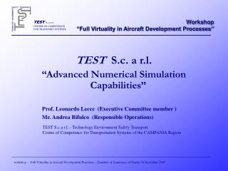 "TEST   S.c. a r.l. ""Advanced Numerical Simulation Capabilities"""