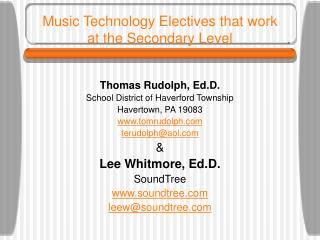 Music Technology Electives that work  at the Secondary Level