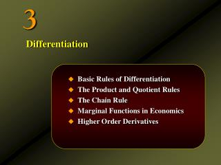 Basic Rules of Differentiation The Product and Quotient Rules The Chain Rule