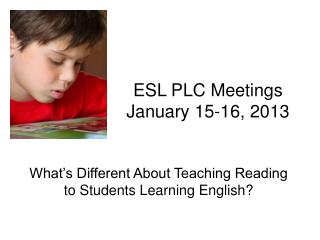 ESL PLC Meetings January 15-16, 2013