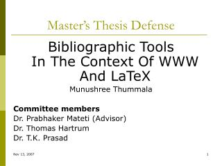 Master's Thesis Defense