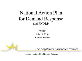 National Action Plan  for Demand Response and PNDRP