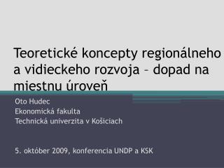 Teoretické koncepty regionálneho a vidieckeho rozvoja – dopad na miestnu úroveň