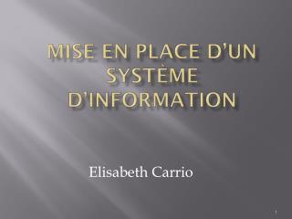 Mise en place d'un système d'information