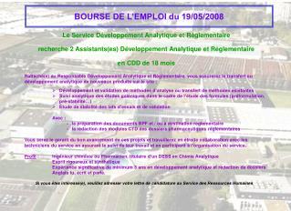 BOURSE DE L'EMPLOI du 19/05/2008