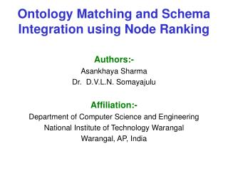Ontology Matching and Schema Integration using Node Ranking