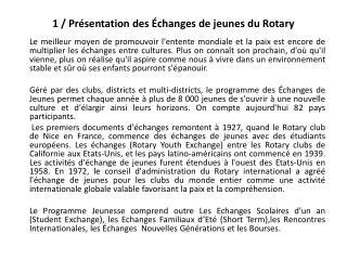 1 / Présentation des Échanges de jeunes du Rotary