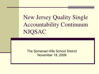 New Jersey Quality Single Accountability Continuum NJQSAC