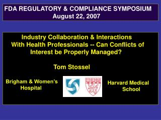 Industry Collaboration & Interactions     With Health Professionals -- Can Conflicts of