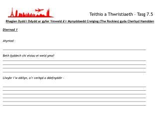 Teithio  a  Thwristiaeth  –  Tasg  7.5