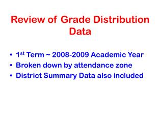Review of Grade Distribution Data