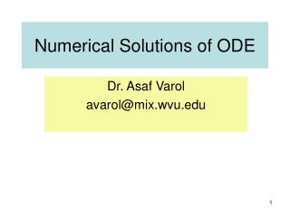 Numerical Solutions of ODE