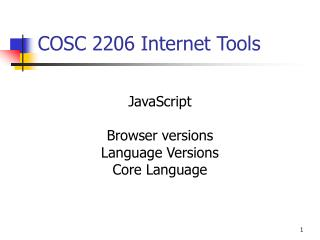 COSC 2206 Internet Tools
