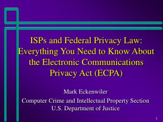 Mark Eckenwiler Computer Crime and Intellectual Property Section U.S. Department of Justice