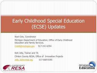 Early Childhood Special Education (ECSE) Updates