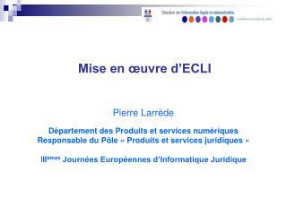 Mise en œuvre d'ECLI