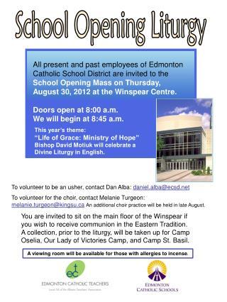 School Opening Liturgy