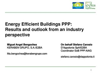 Energy Efficient Buildings PPP: Results and outlook from an industry perspective