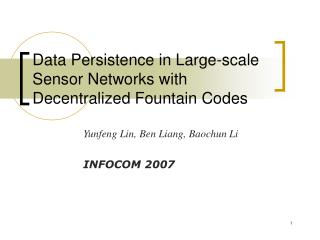 Data Persistence in Large-scale Sensor Networks with Decentralized Fountain Codes