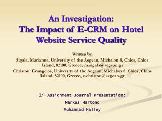 An Investigation: The Impact of E-CRM on Hotel Website Service Quality