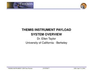 THEMIS INSTRUMENT PAYLOAD SYSTEM OVERVIEW Dr. Ellen Taylor University of California - Berkeley